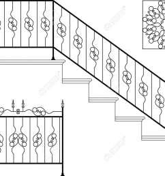 vector wrought iron stair railing design vector art [ 1300 x 989 Pixel ]