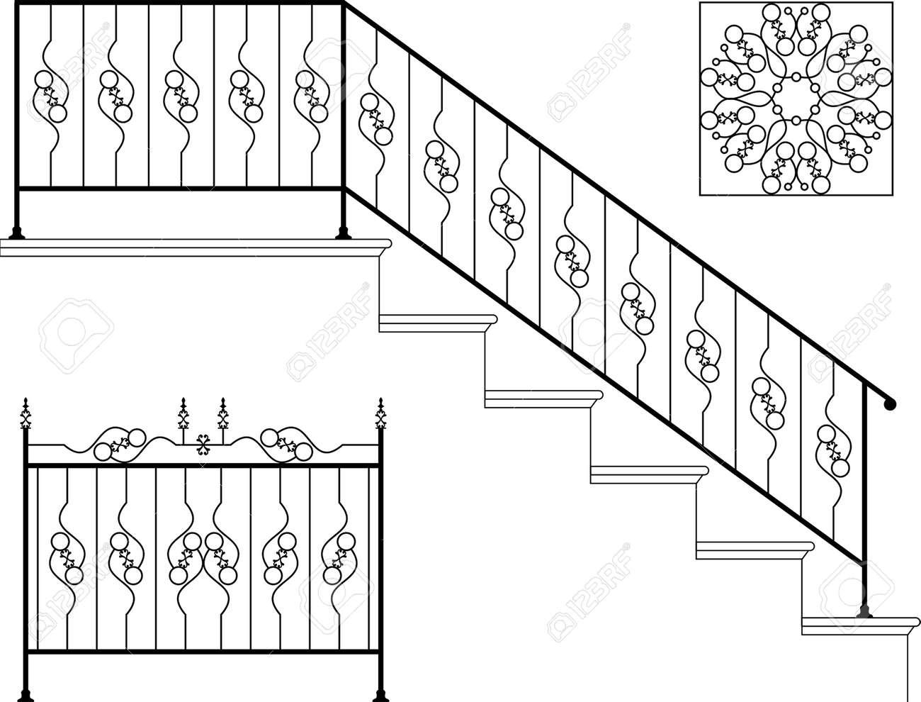 hight resolution of vector wrought iron stair railing design vector art