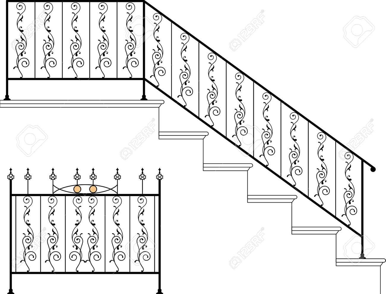 Wrought Iron Stair Railing Design Vector Art Royalty Free Cliparts   Wrought Iron Stair Railing   Italian   Front Porch   French   Mediterranean   Design