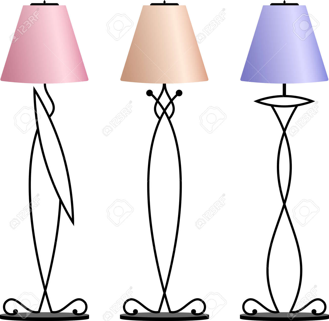 Wrought Iron Table Floor Lamp Vector Illustration Royalty Free Cliparts Vectors And Stock Illustration Image 58913994