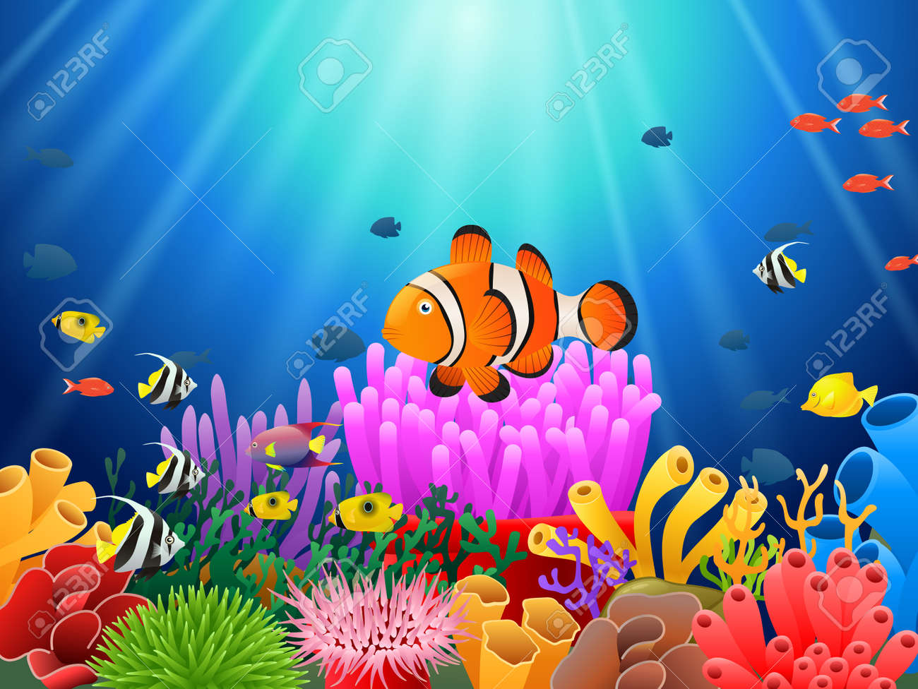 hight resolution of clown fish under the sea stock vector 87676292