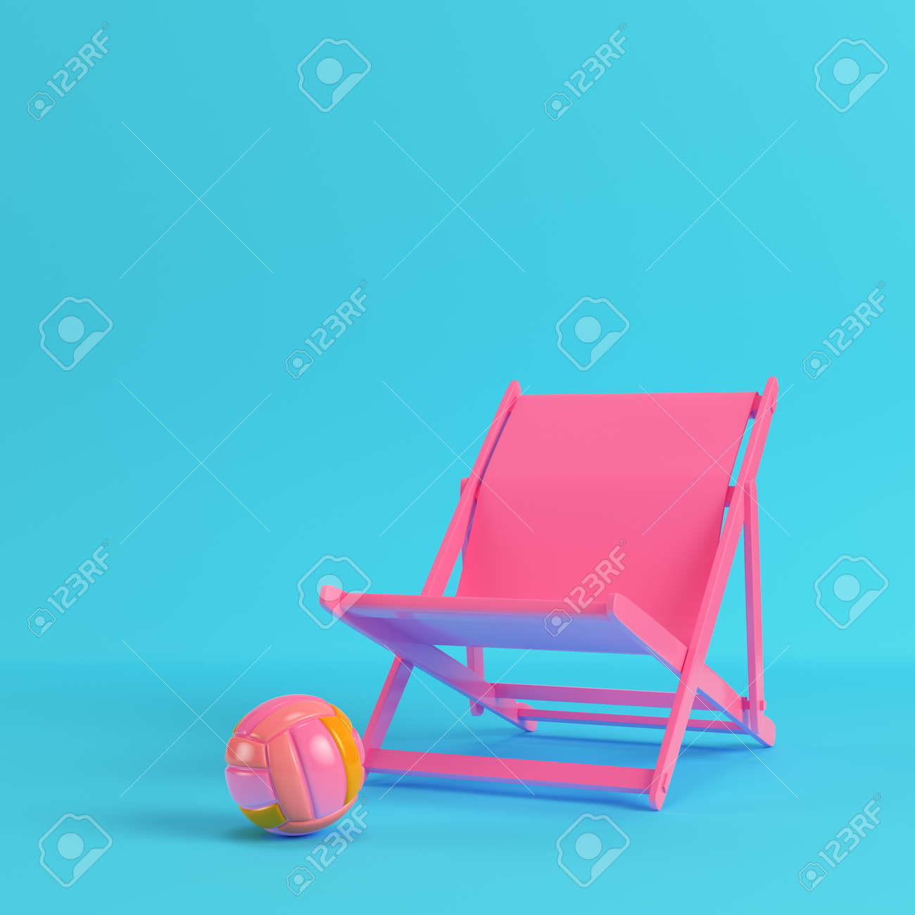pink beach chair osaki os 4000 massage review with volleyball ball on bright blue background in pastel colors minimalism concept