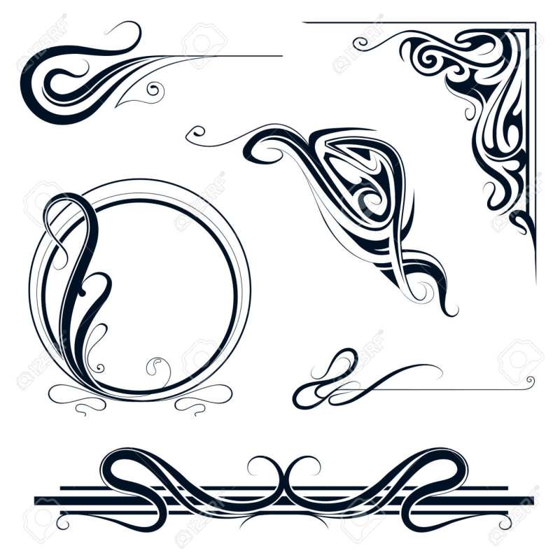 Decorative Elements And Vintage Frame Set In Art Nouveau Style Stock Vector 36274437