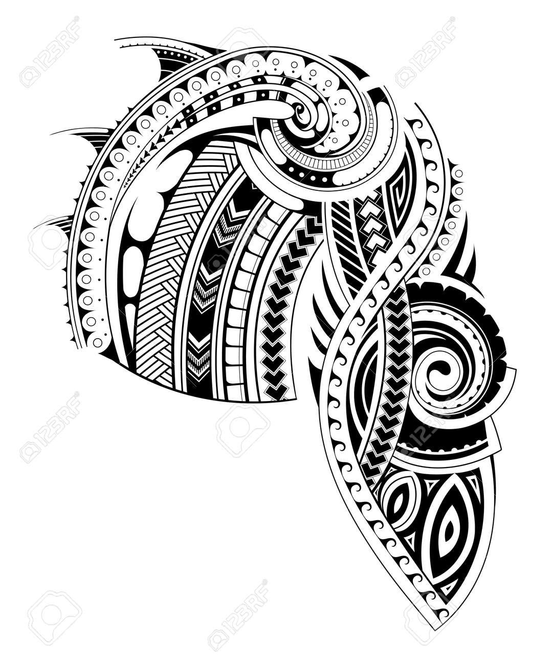 Diseño Del Tatuaje Maorí De Estilo Para Las áreas Del Pecho Y Manga