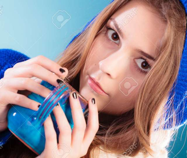 Hot Beverage Closeup Teen Girl Holding Blue Mug With Drink Tea Or Coffee Woman
