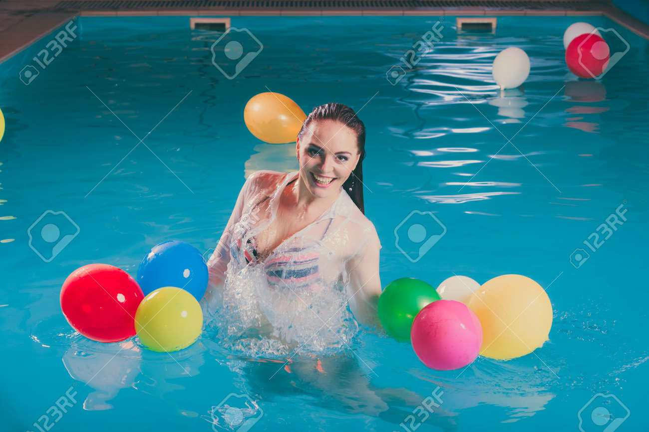 happy woman in swimming