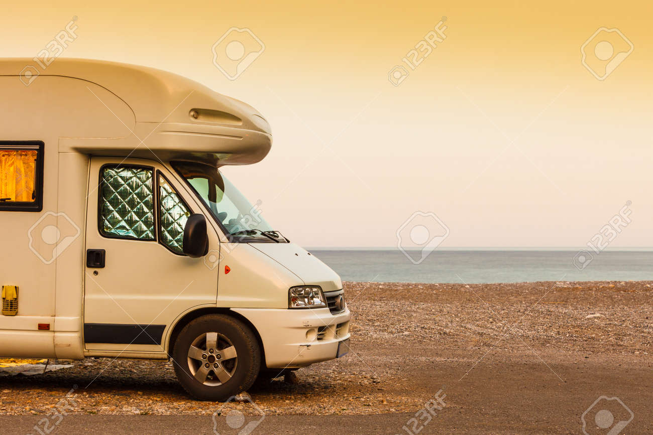 Tourism Vacation And Travel Camper Van On Beach Sea Shore In Stock Photo Picture And Royalty Free Image Image 96583980