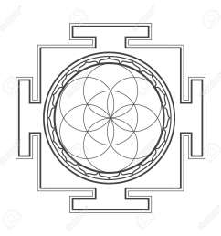 vector vector black outline hinduism seed of life yantra illustration circles diagram isolated on white background [ 1300 x 1300 Pixel ]