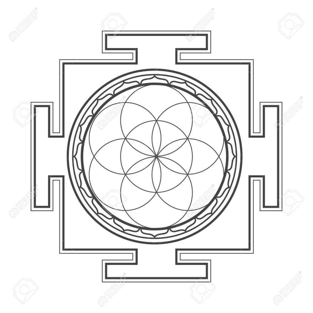medium resolution of vector vector black outline hinduism seed of life yantra illustration circles diagram isolated on white background