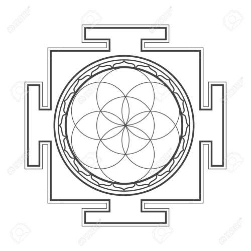 small resolution of vector vector black outline hinduism seed of life yantra illustration circles diagram isolated on white background