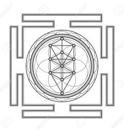 vector vector black outline tree of life yantra illustration sacred diagram isolated on white background [ 1300 x 1300 Pixel ]