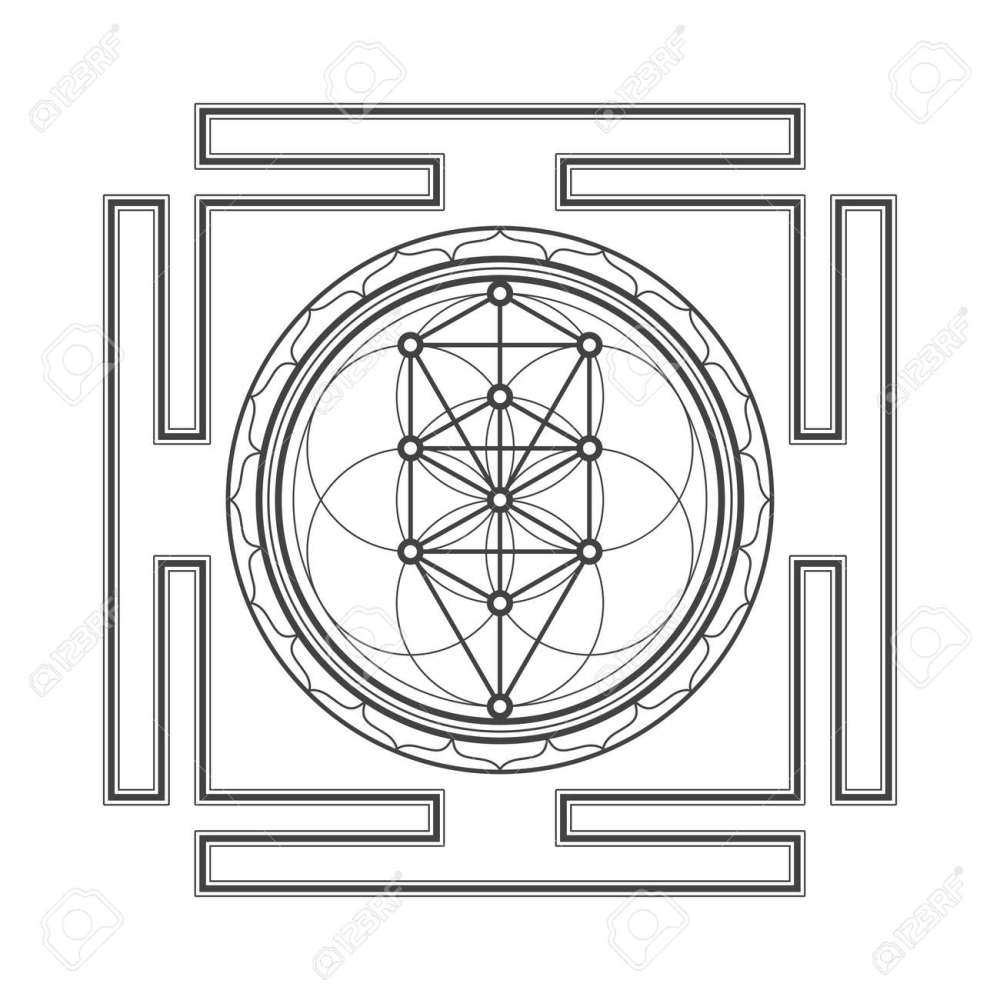 medium resolution of vector vector black outline tree of life yantra illustration sacred diagram isolated on white background