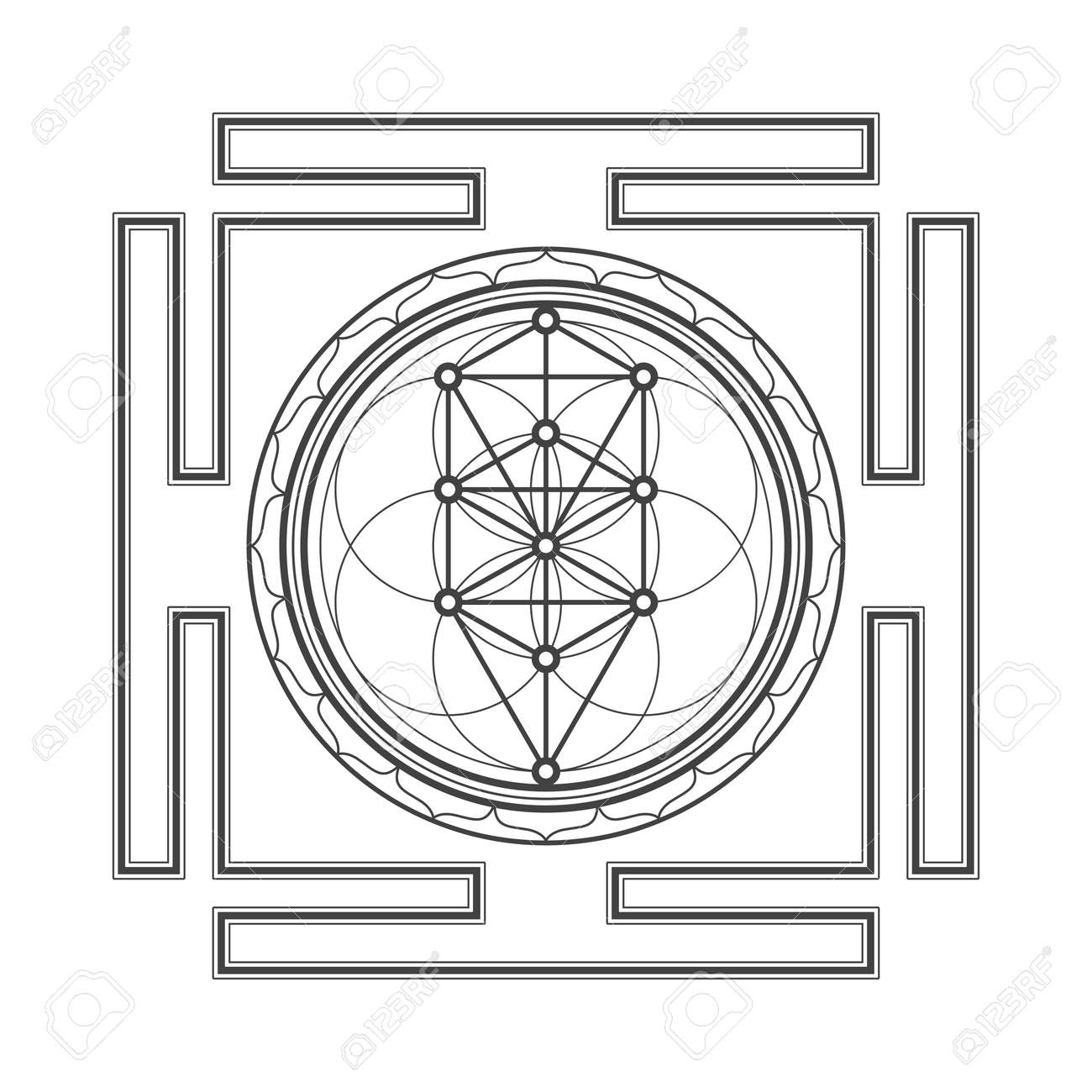 hight resolution of vector vector black outline tree of life yantra illustration sacred diagram isolated on white background