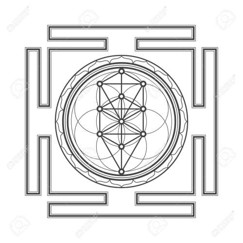 small resolution of vector vector black outline tree of life yantra illustration sacred diagram isolated on white background