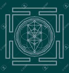 vector vector silver outline tree of life yantra illustration sacred diagram isolated on dark background [ 1300 x 1300 Pixel ]