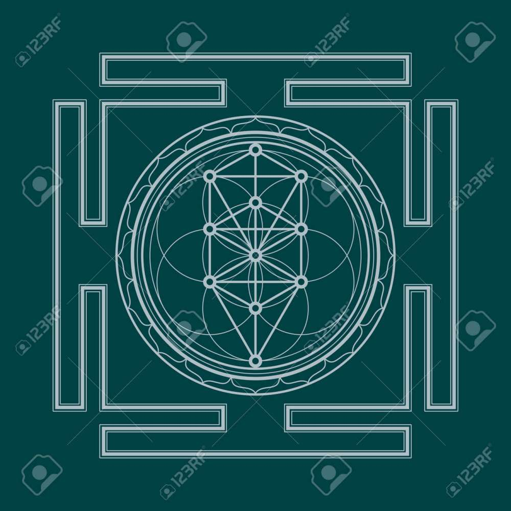 medium resolution of vector vector silver outline tree of life yantra illustration sacred diagram isolated on dark background