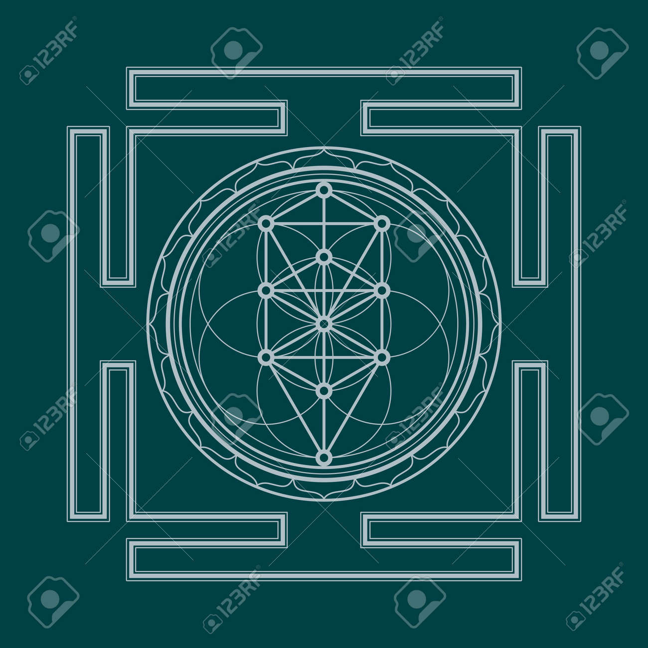 hight resolution of vector vector silver outline tree of life yantra illustration sacred diagram isolated on dark background