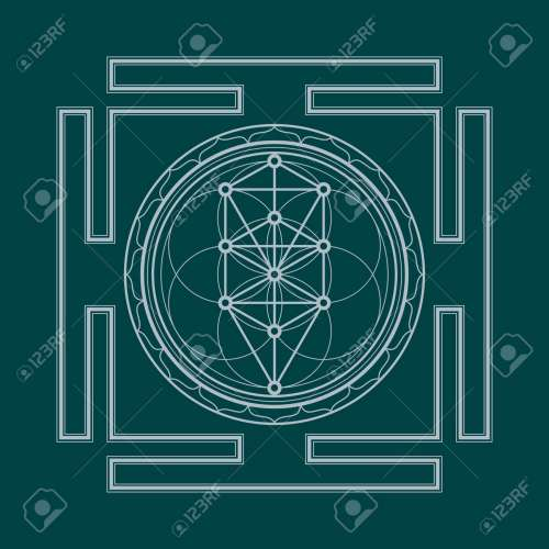 small resolution of vector vector silver outline tree of life yantra illustration sacred diagram isolated on dark background