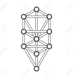 vector vector black outline tree of life illustration kabbalah diagram isolated white background [ 1300 x 1300 Pixel ]