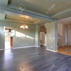 Dark Grey Flooring Living Room Decors Spacious Empty Interior With Hardwood Floor Green Olive Walls Stock