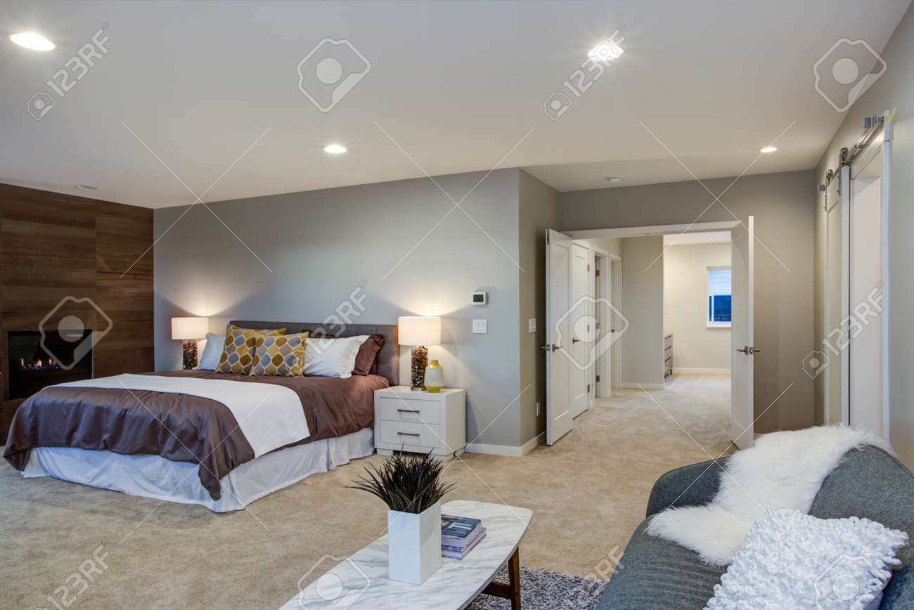 Upstairs Stunning Master Bedroom With King Size Bed Fireplace Stock Photo Picture And Royalty Free Image Image 97873859