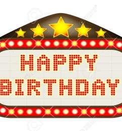 a happy birthday movie theatre or theatre marquee stock vector 60709376 [ 1300 x 876 Pixel ]