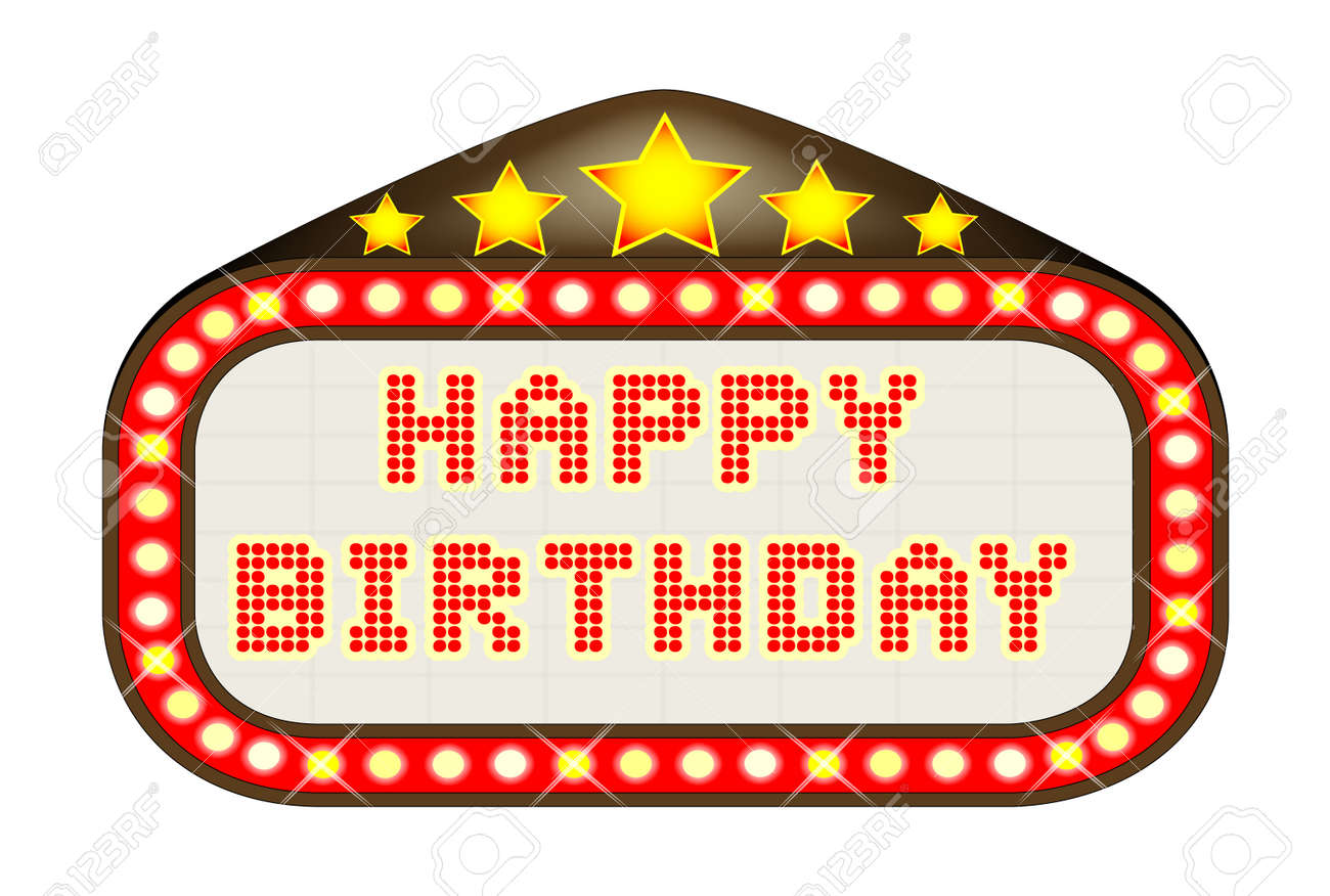 hight resolution of a happy birthday movie theatre or theatre marquee stock vector 60709376