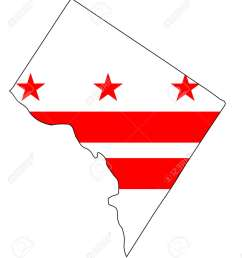 outline map of washington dc over a white background with flag inset stock vector 83335245 [ 1140 x 1300 Pixel ]