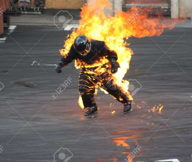 Man On Fire Stock Photo 15839007