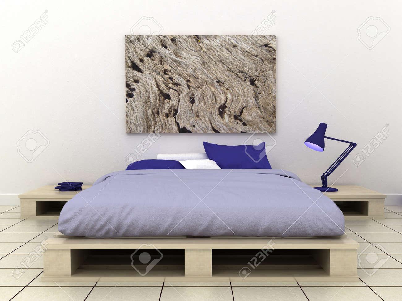 cadres vides dans le fond interieur de chambre a coucher classique sur le mur peint decoratif avec plancher en bois lit table de chevet oreiller