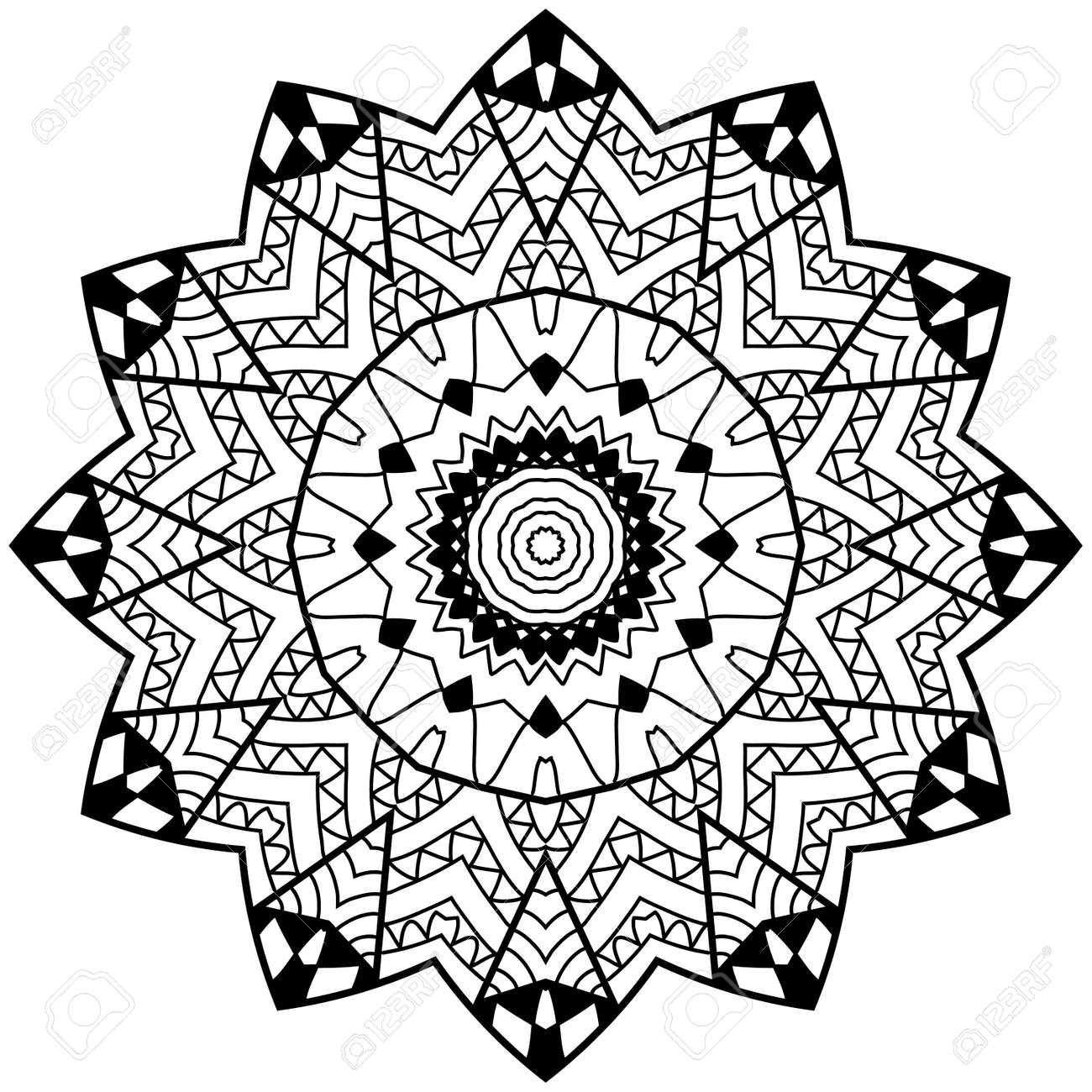 Adult Coloring Page Floral Doodle Art Mandala With Hand Drawn