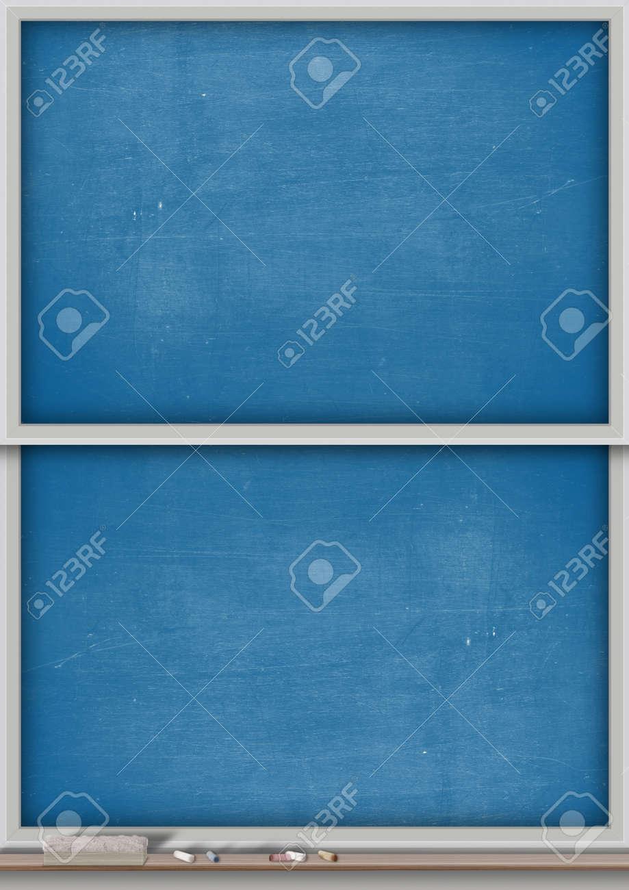 a rectangular blue chalkboard