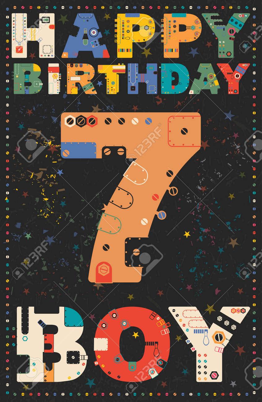 carte de joyeux anniversaire joyeux anniversaire garcon 7 ans carte cadeau illustration vectorielle