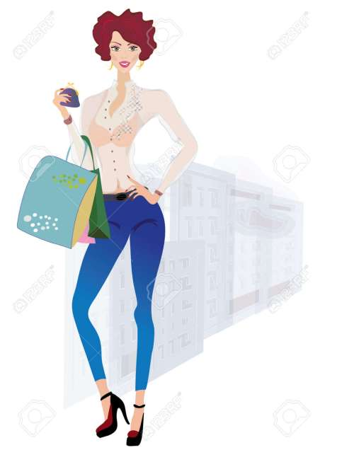 small resolution of girl on shopping fashion girl holding purse and bags on urban background stock vector 21586167