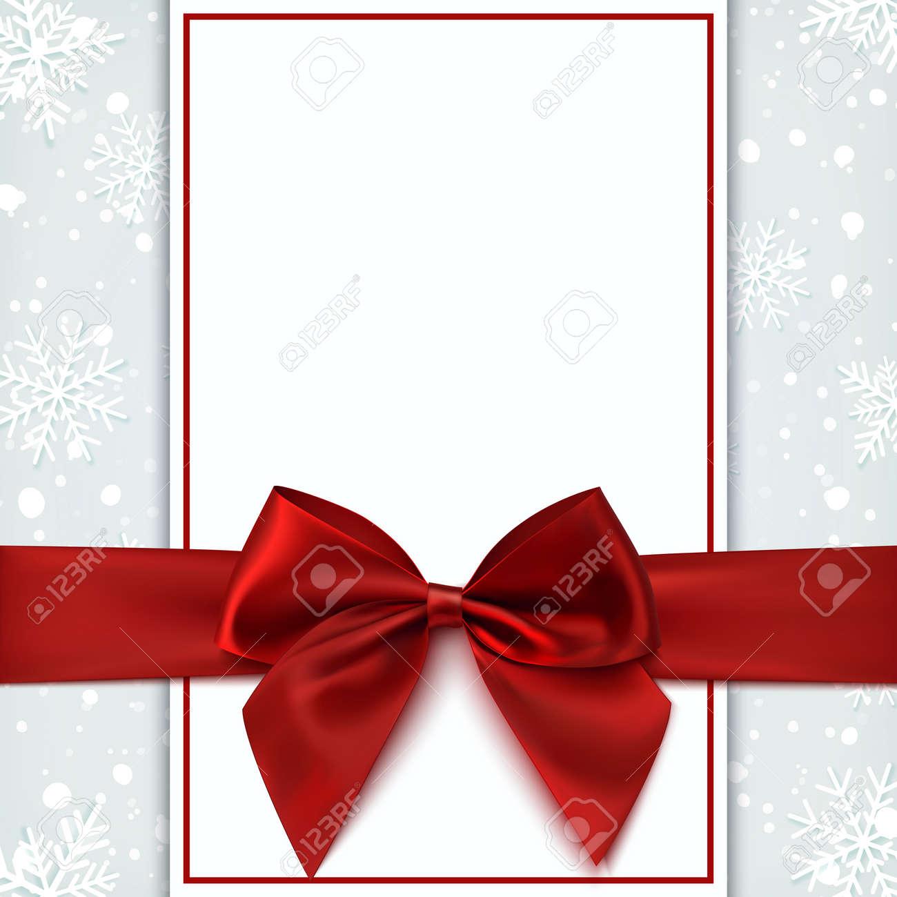 carte de voeux vierge avec l arc rouge et la neige invitation depliant ou modele de brochure illustration vectorielle