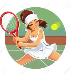 beautiful girl play tennis eps10 vector illustration isolated on white background stock vector  [ 1300 x 1300 Pixel ]