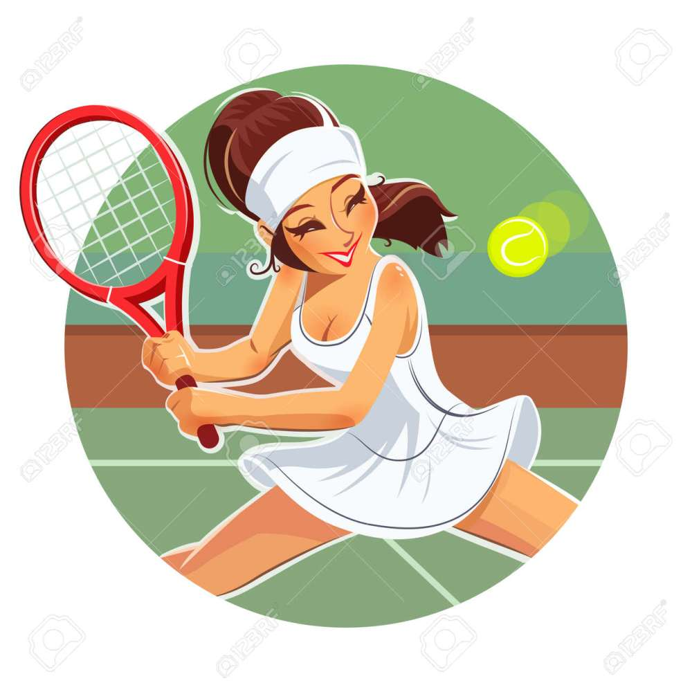 medium resolution of beautiful girl play tennis eps10 vector illustration isolated on white background stock vector