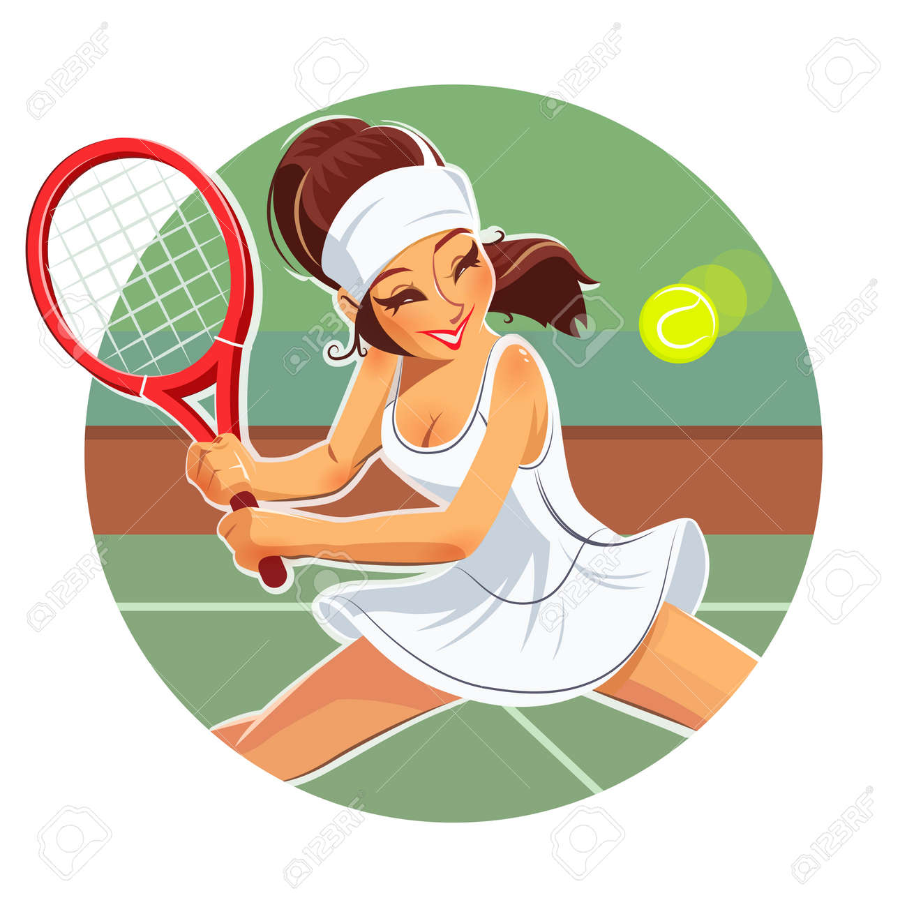hight resolution of beautiful girl play tennis eps10 vector illustration isolated on white background stock vector