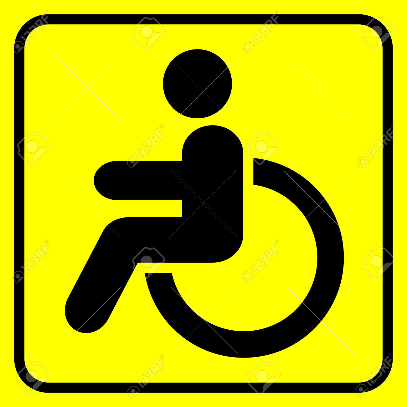 yellow wheelchair arm chair covers nz disabled warning sign man in black on vector illustration stock