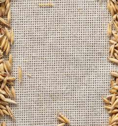 frame made of unpeeled oat grains on homespun or burlap tablecloth background top view close up macro selective focus dietary food vegan background  [ 866 x 1300 Pixel ]