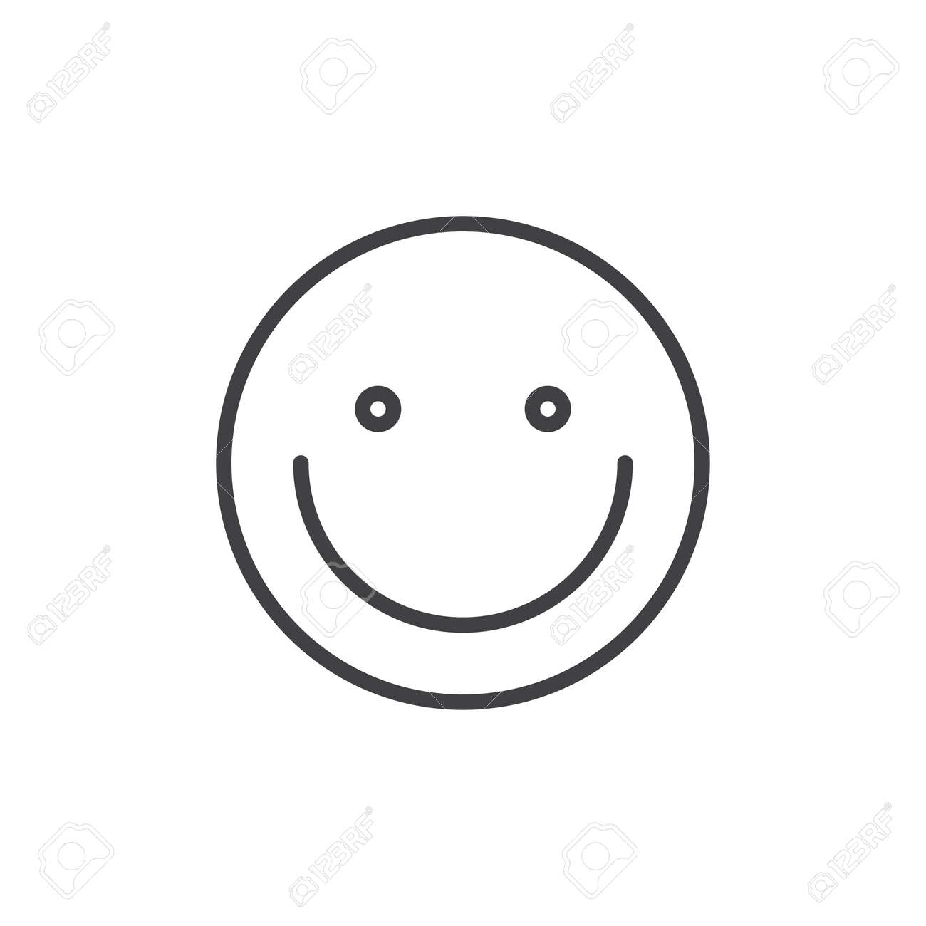 Smiling Face Emoticon Line Icon Outline Vector Sign Linear Royalty Free Cliparts Vectors And Stock Illustration Image 89142380