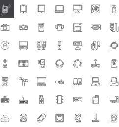 computer devices hardware line icons set linear style symbols collection outline signs pack [ 1300 x 1300 Pixel ]