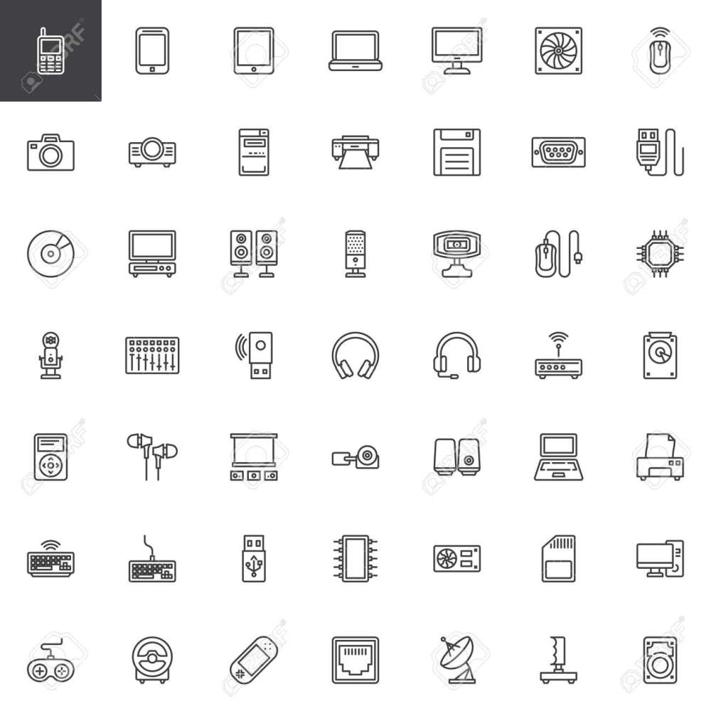 medium resolution of computer devices hardware line icons set linear style symbols collection outline signs pack