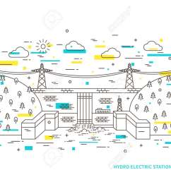 linear hydro electric station hydroelectric power plant vector illustration hydro power engineering waterpower plant creative [ 1300 x 975 Pixel ]