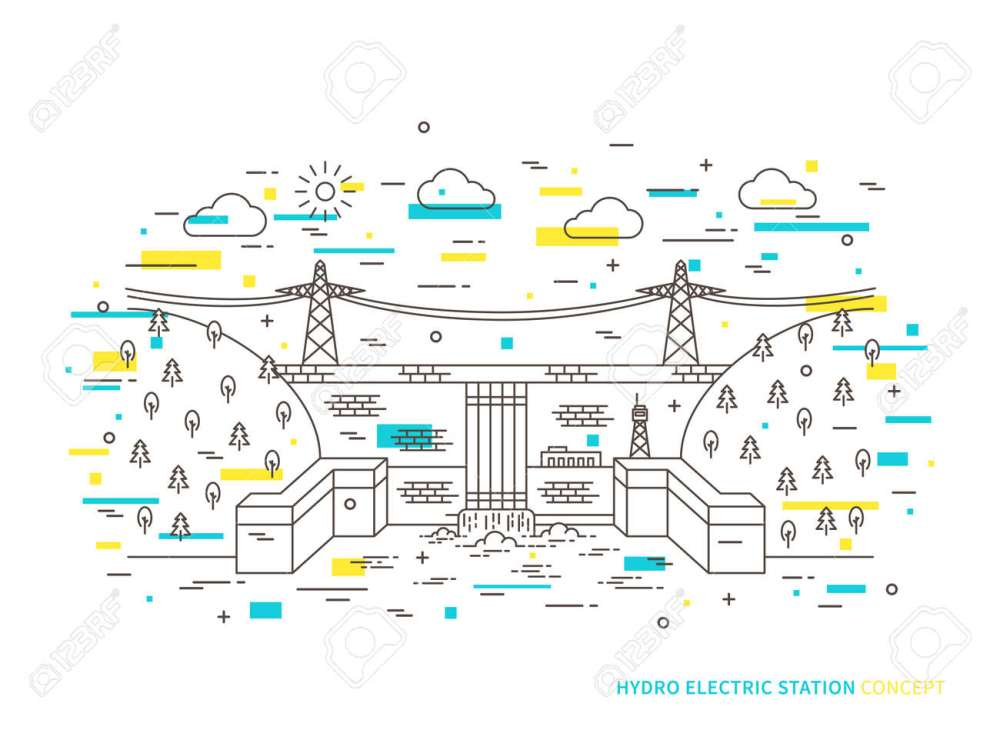 medium resolution of linear hydro electric station hydroelectric power plant vector illustration hydro power engineering waterpower plant creative