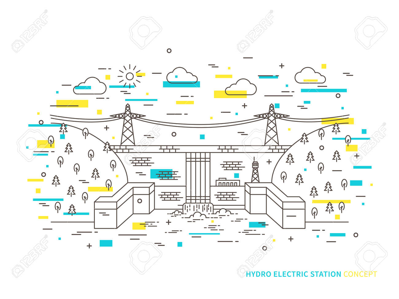 hight resolution of linear hydro electric station hydroelectric power plant vector illustration hydro power engineering waterpower plant creative