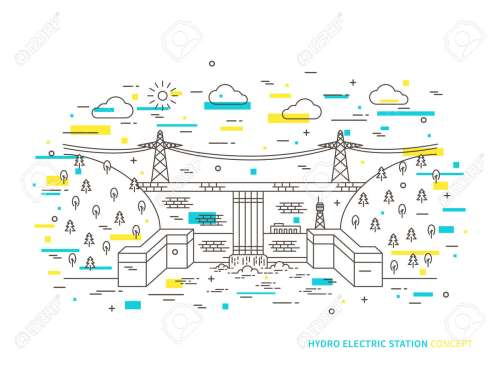 small resolution of linear hydro electric station hydroelectric power plant vector illustration hydro power engineering waterpower plant creative
