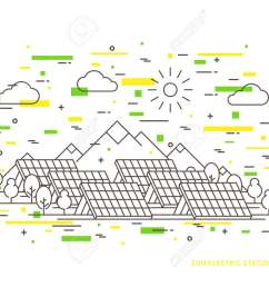linear sun electric station solar energy park solar power station vector illustration solar power [ 1300 x 975 Pixel ]