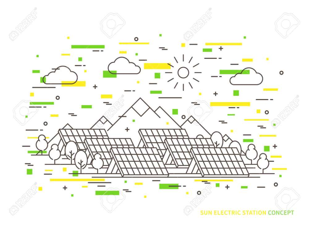 medium resolution of linear sun electric station solar energy park solar power station vector illustration solar power