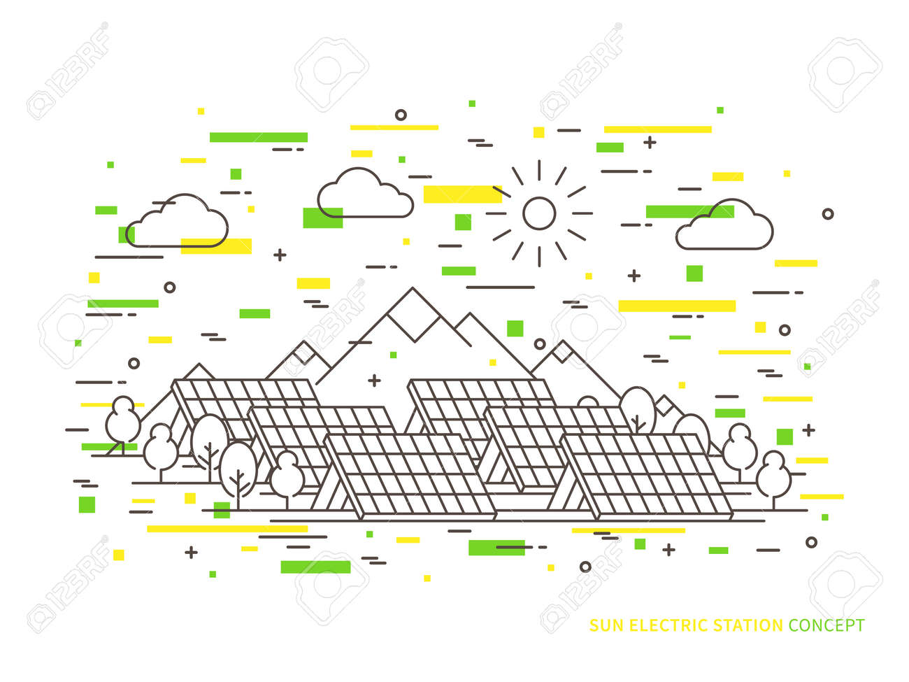 hight resolution of linear sun electric station solar energy park solar power station vector illustration solar power